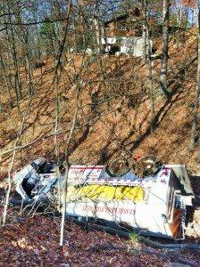 UNOCCIPIED AR TANKER CRASHES DOWN 600 FT RAVINE