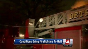 POWER LINE FALLS ON DETROIT LADDER TRUCK TRAPPING FF, ANOTHER INJURED AT CHRISTMAS NIGHT FIRE
