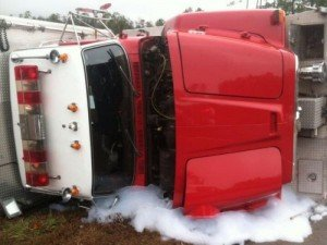 FIRE APPARATUS OVERTURNS IN MISSISSIPPI-RESPONDING