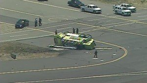 FIRE APPARATUS ROLLS AT OAKLAND (CAL) AIRPORT-FIREFIGHTER SERIOUSLY INJURED