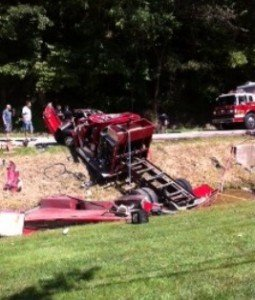 FIREFIGHTER SERIOUSLY INJURED AS FIRE APPARATUS OVERTURNS DURING WATER SHUTTLE IN WEST VIRGINIA