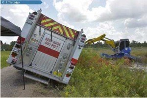 FL ENGINE SLIDES OFF THE ROAD