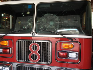 BOTTLE THROWN AT RESPONDING FIRE APPARATUS IN DELAWARE