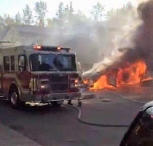 BURNING VEHICLE ROLLS & STRIKES FIRE APPARATUS AT POLICE EMERGENCY SCENE