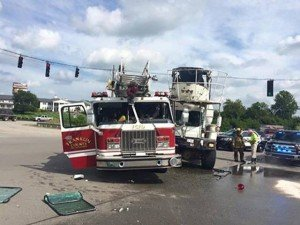 KY LADDER AND CONCRETE TRUCK COLLIDE WHILE RESPONDING