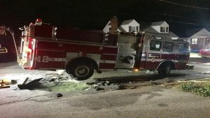 ENGINE GOES INTO SINK HOLE IN RI