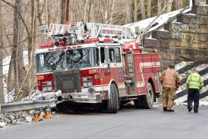 LADDER TRUCK STRIKES GAURDRAIL IN PA